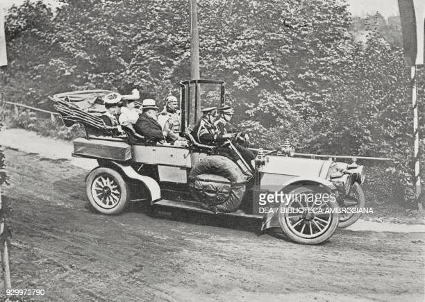 The Emperor Wilhelm II of Germany, with the princesses of Hesse and Greece, accompanying King Edward VII of the United Kingdom by car to Kronberg im...