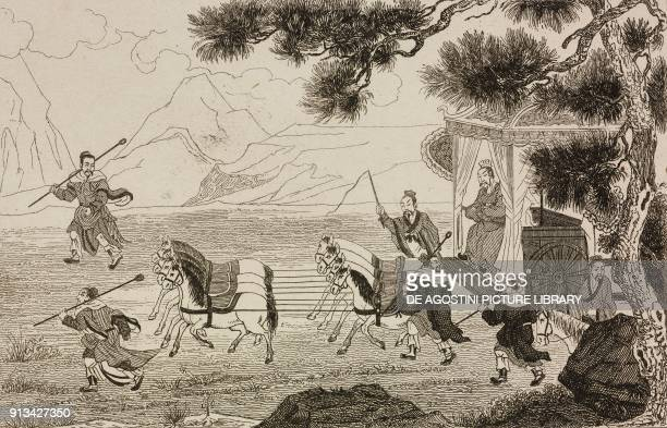 The Emperor Yeou Wang on a chariot pulled by eight horses China engraving from Chine ou Description historique geographique et litteraire de ce vaste...