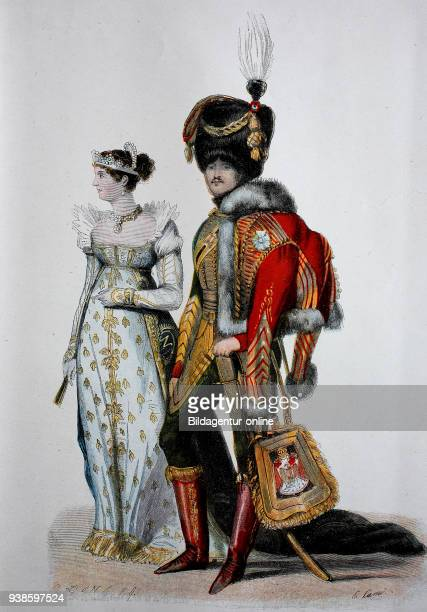 The Empire fashion menswear and fashion court dress from the Empire era woodcut from the year 1885 digital improved