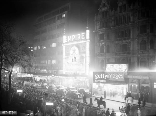The Empire Leicester Square on the night of the Royal command film performance of Beau Brummell 15th November 1956