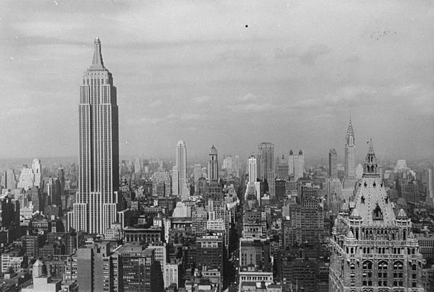 The Empire State Building and the Manhattan skyline viewed f