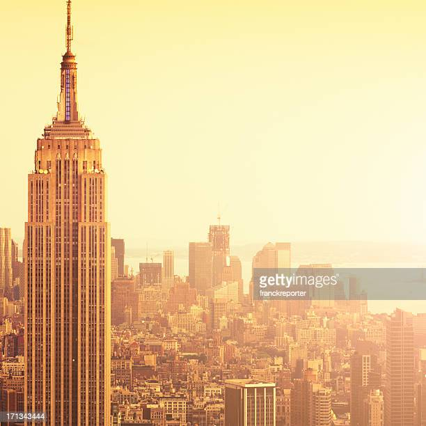 The Empire State building in NYC at sunset.