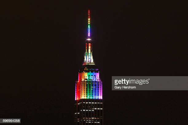 The Empire State Building is lit in rainbow colors to mark the end of Pride 2015 festivities in New York June 28 2015