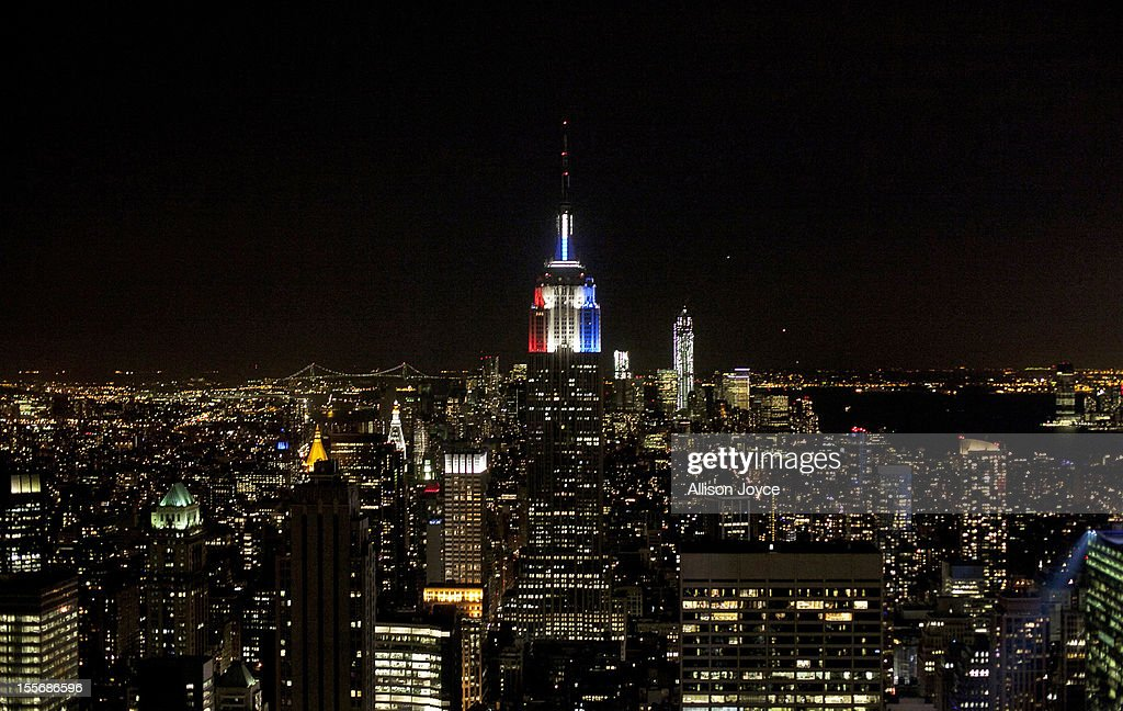 The Empire State Building is lit red white and blue for election night November 6, 2012 in New York City. Voters went to polls in the heavily contested presidential race between incumbent U.S. President Barack Obama and Republican challenger Mitt Romney.