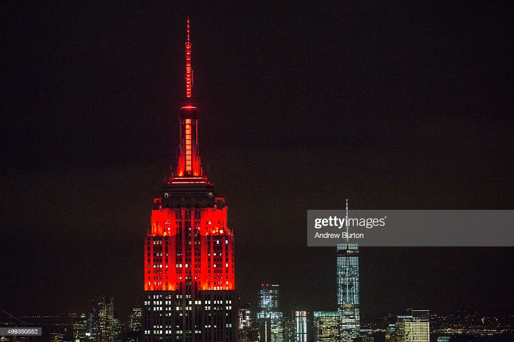 The Empire State Building Is Lit With Red Lights In Honor Of World Aids Day  On