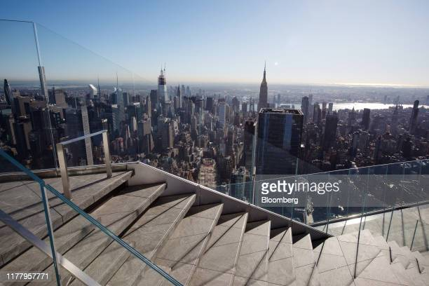 The Empire State Building is seen from the Edge observation deck at 30 Hudson Yards during a media preview event in New York US on Thursday Oct 24...