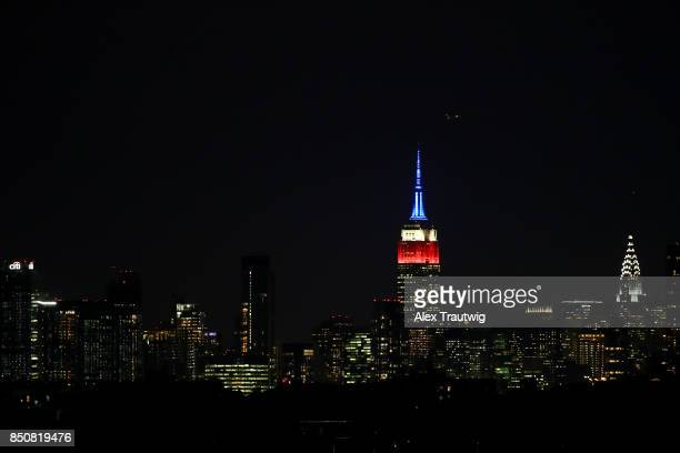 The Empire State Building is seen from the game between the New York Yankees and Tampa Bay Rays at Citi Field on Monday September 11 2017 in the...