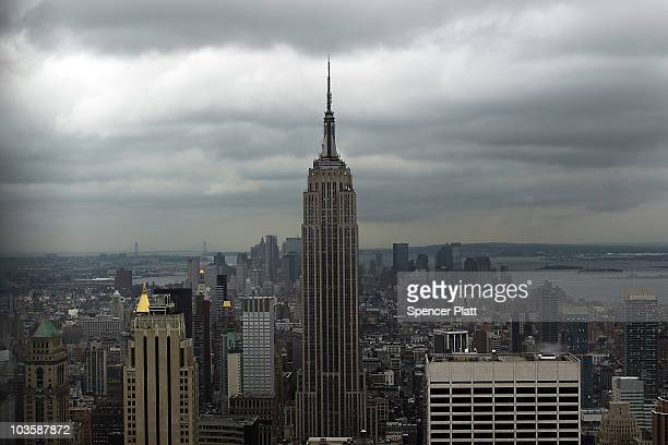 The Empire State Building is viewed from the observation deck at Rockefeller Center on August 24 2010 in New York City A proposed tower on 34th...