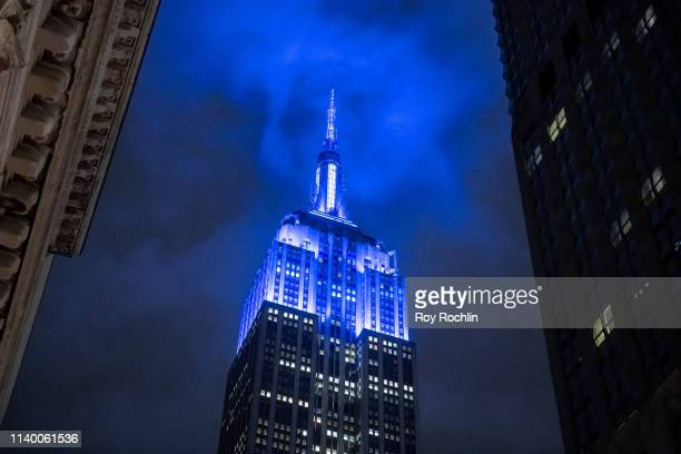 The Empire State Building lights it up blue for World Autism Awareness Day on April 02 2019 in New York City