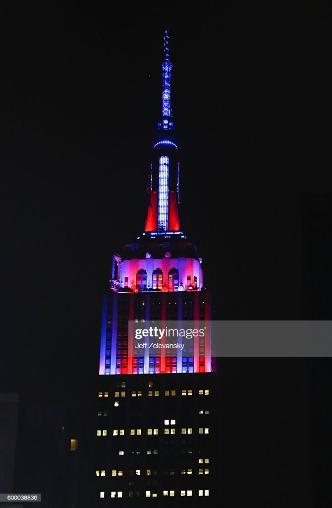 The Empire State Building lights up in FC Barcelona's iconic red and blue team colors to celebrate the club's arrival to New York, and its 10-year global partnership with UNICEF, on September 7, 2016 in New York City.