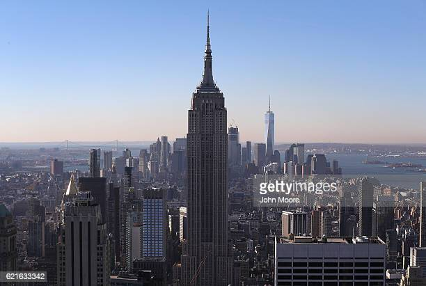 The Empire State Building rises above Midtown Manhattan on November 7 2016 in New York City The city is on a hightened state of alert after federal...