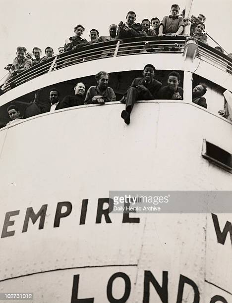 The 'Empire Windrush' arriving from Jamaica 1948 A photograph of the 'Empire Windrush' docked at Tilbury having sailed from Australia via Jamaica...