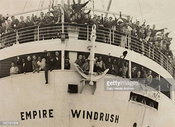 The 'Empire Windrush' arriving from Jamaica 1948 A photograph of the 'Empire Windrush' at Tilbury docks having sailed from Australia via Jamaica...