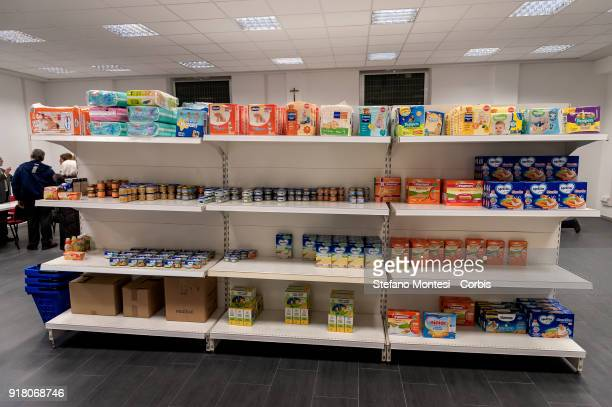 The emporium of Solidarity of the diocesan Caritas of Rome in the parish of San Ponziano in the Montesacro district a supermarket for families in...