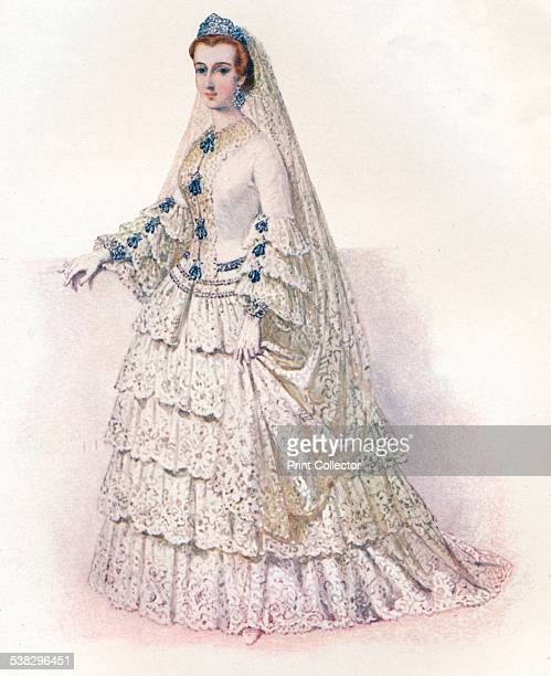 The Empress Eugenie in her bridal dress, 1853. Eugénie de Montijo was the last Empress consort of the French from 1853 to 1871 as the wife of...