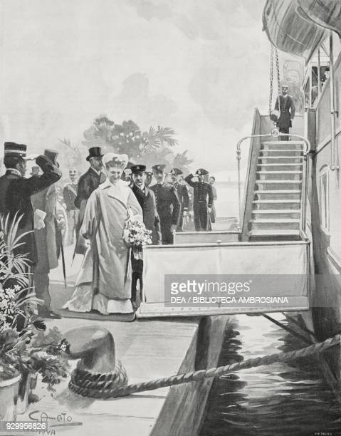 The Empress of Germany Augusta Victoria boarding the Hohenzollern ship in Genoa Italy drawing by Gennaro Amato from L'Illustrazione Italiana Year...