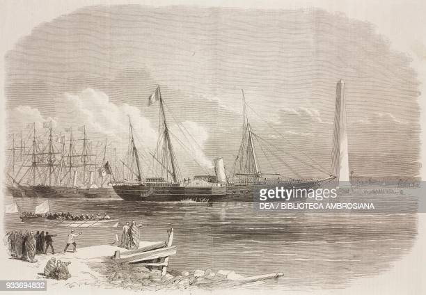 The Empress of the French, Eugenie, on board the Aigle, entering the canal at Port Said, opening of the Suez Canal, Egypt, illustration from the...