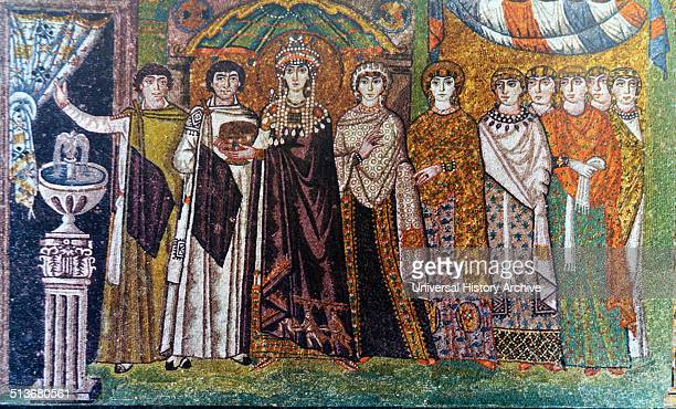 The Empress Theodora and attendants 6th century mosaic from the Basilica of San Vitale Ravenna The mausoleum of Galla Placidia was the work of the...