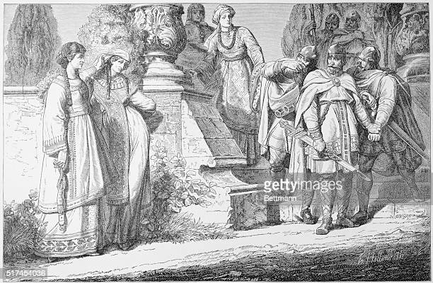 The Empress Theophano And Otto II: Engraving by Hottenroth of the Empress Theophano and Otto II , Holy Roman Emperor. The two married in 972 in Rome,...