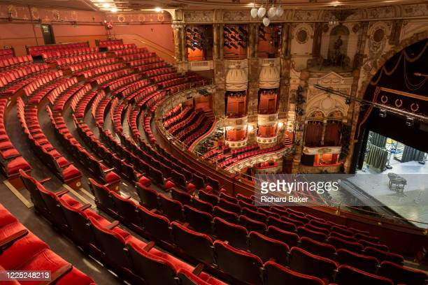 The empty auditorium of the London Coliseum home of English National Opera ENO remains closed for performances during the Coronavirus pandemic...