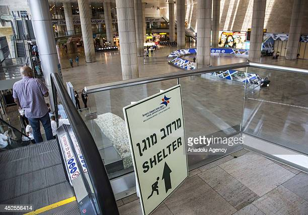 The empty Ben Gurion International airport near Tel Aviv is seen following several flight cancellations on July 23 2014 due to the ongoing the Gaza...