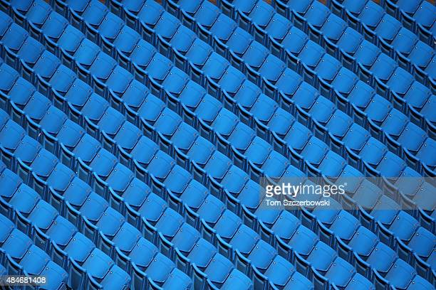 The empty blue seats during batting practice before the stadium gates opened prior to the start of the Toronto Blue Jays MLB game against the...