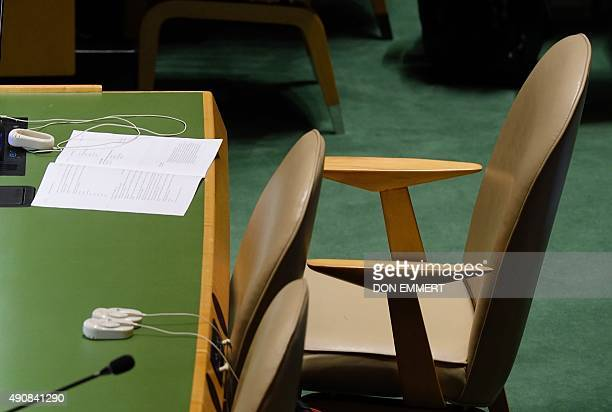 The empty chair of the delegation from Iran during the speech of Benjamin Netanyahu, Prime Minister of the State of Israel, at the 70th session of...