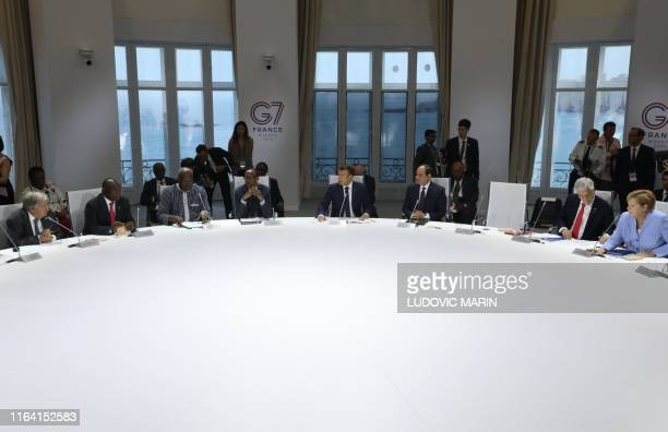 The empty chair of US Presisdent Donald Trump is seen as leader UN general secretary Antonio Guterres South african president Cyril Ramaphosa Burkina...