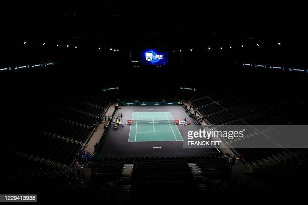 The empty court is pictured prior to men's singles first round tennis match on day 1 at the ATP World Tour Masters 1000 - Paris Masters - indoor...