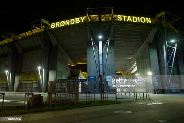 The empty entrance to Brondby Stadion after the Danish 3F Superliga match between Brondby IF and OB Odense at Brondby Stadion on November 08, 2020 in...