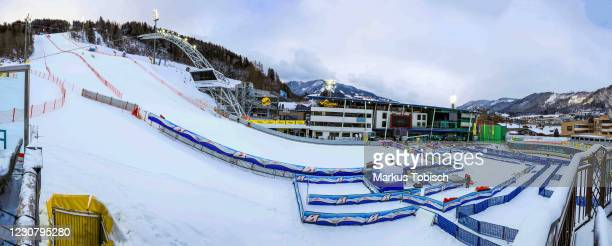 The empty finish area of Schladming competes during the Audi FIS Alpine Ski World Cup Slalom on January 26, 2021 in Schladming, Austria.