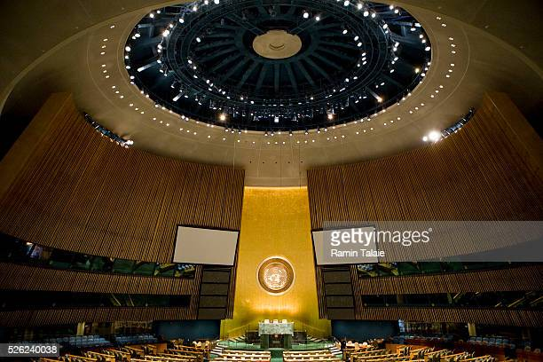 The empty General Assembly hall at United Nations headquarters in New York City on September 21, 2009. The U.N. Will host leaders from around the...