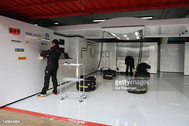 The empty Hispania Racing Team garage is seen during day four of Formula One winter testing at the Circuit de Catalunya on March 4 2012 in Barcelona...