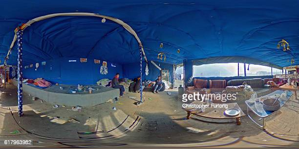 The empty interior of a migrants dwelling in the notorius Jungle camp the last three of this particular hut will be leaving in the morning on October...