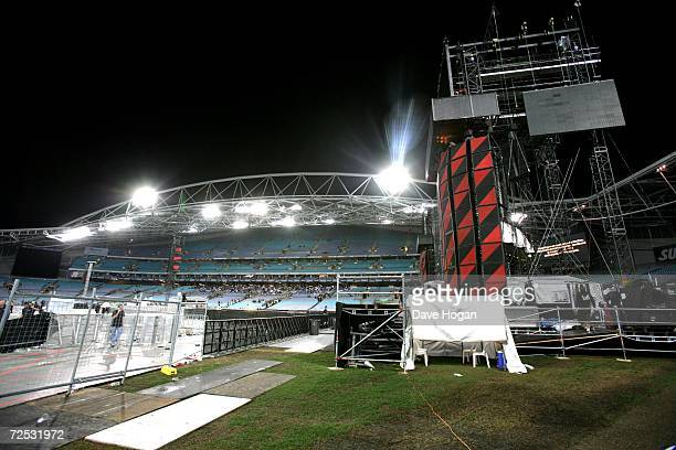 The empty littered stadium is seen following the first of three rescheduled Sydney dates on U2's Vertigo Tour at the Telstra Stadium on November 10...