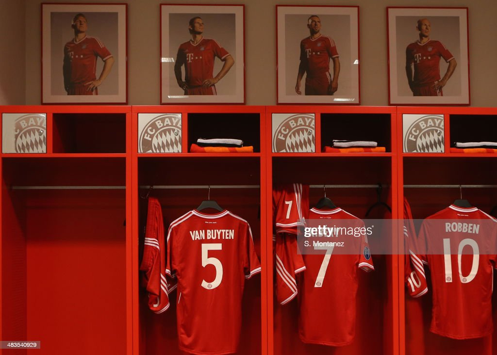 The empty locker of suspended Bastian Schweinsteiger of Bayern Muenchen is displayed ahead of the UEFA Champions League quarter final second leg match between FC Bayern Muenchen and Manchester United at Allianz Arena on April 9, 2014 in Munich, Germany.
