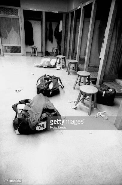 The empty locker room of the Buffalo Bills following their defeat by the Pittsburgh Steelers in the Divisional Round of the NFL /AFC playoffs on...