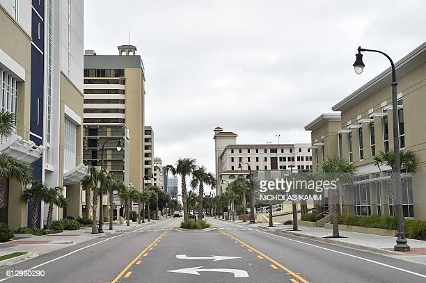 The empty main street of Myrtle Beach South Carolina is seen on October 6 2016 as Hurricane Matthew makes its way towards the United States Some...