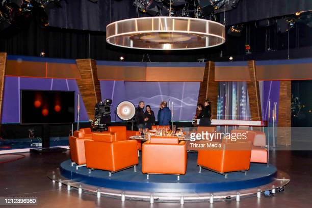 The empty NDR studio without audience because of the Corona virus during the NDR talk show on March 13, 2020 in Hamburg, Germany.
