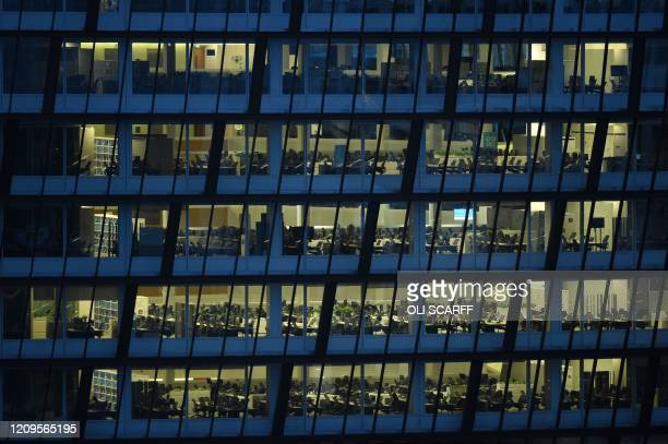 The empty offices at Co-op headquarters are pictured in Manchester on April 9, 2020. - COVID-19 has struck at the heart of the British government,...