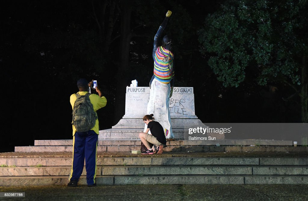 The empty pedestal of the Jackson Lee Monument in Wyman Park is seen before dawn after workers took four Confederate monuments overnight in the city on Aug. 16, 2017 in Baltimore, Md.