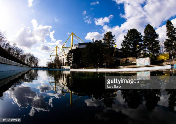 The empty periphery of the Signal Iduna Park, home stadium of Borussia Dortmund, is seen on March 9, 2020 in Dortmund, Germany. As the number of...