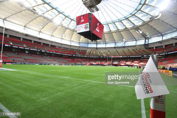 The empty pitch before competitions begins during day 1 of the 2019 Canada Sevens Rugby Tournament on March 9, 2019 at BC Place in Vancouver, British...