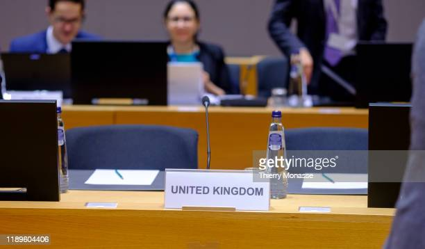 The empty place of the United Kingdom delegation is seen prior the start of the EU Ministers Environment Council in the Europa building on December...