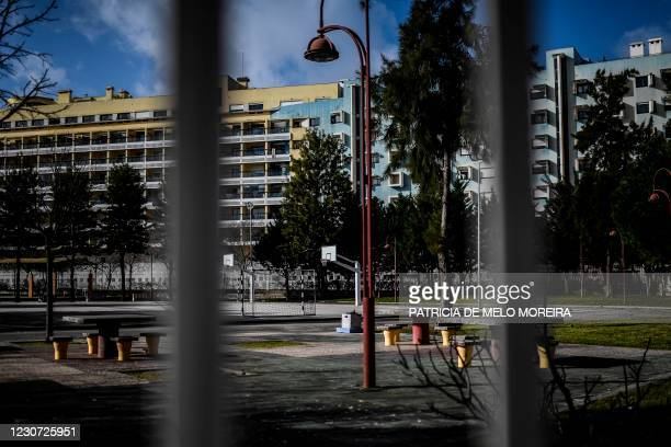 The empty playground of the Vasco da Gama school is pictured at Parque das Nacoes in Lisbon on January 22, 2021. - Portugal has closed schools for...