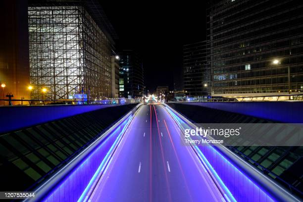 The empty 'Rue de la Loi' is seen on March 17 2020 in Brussels Belgium From 0000 on March 15 all public spaces such as restaurant cafés and concert...