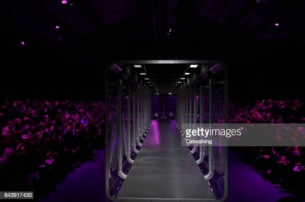 The empty runway at the Gucci Autumn Winter 2017 fashion show during Milan Fashion Week on February 22 2017 in Milan Italy
