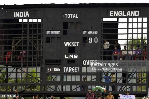 The empty scoreboard at the Nehru Stadium Guwahati India Sunday 9th April 2006 The 5th ODI between India and England has been delayed due to a...
