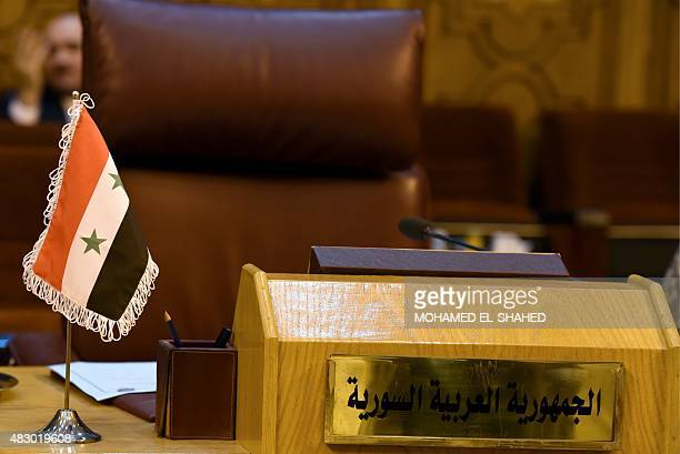 The empty seat of Syria is seen during an Arab League foreign ministers meeting in the Egyptian capital Cairo on August 5 2015 Fifteen Arab League...