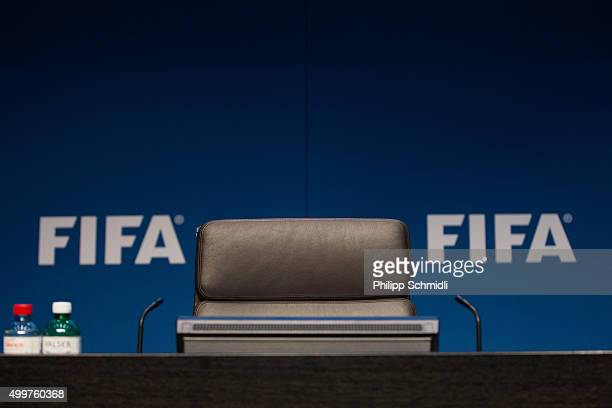The empty seat of the FIFA President prior to the FIFA Executive Committee Meeting Press Conference at the FIFA headquarters on December 3 2015 in...